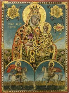 Icon of the Virgin of the Unfading Rose with Warrior Saints, Greek, century, tempera and gesso on wood panel, 30 x cm. The two warrior saints appear to be Saint Menas and Saint Mercurios. Madonna, Byzantine Icons, Byzantine Art, Blessed Mother Mary, Blessed Virgin Mary, Religious Icons, Religious Art, Greek Icons, Queen Of Heaven