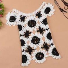 Romantic moments — Sweet sleeveless sweater Sunflower Slim hollow on Wanelo Crochet Woman, Love Crochet, Irish Crochet, Beautiful Crochet, Knit Crochet, Crochet Tops, Crochet T Shirts, Crochet Blouse, Crochet Clothes