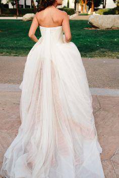 Blush + white chiffon wedding dress: http://www.stylemepretty.com/2016/02/17/romantic-wedding-dresses/