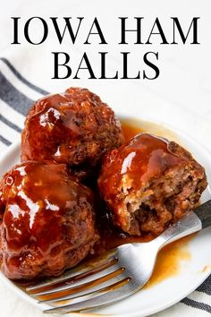Iowa Ham Ball recipe topped with a brown sugar glaze. Ground ham and ground beef mixed together to make this sweet and savory meatball dinner. Leftover Ham Recipes, Recipes With Ground Ham, Recipes Using Ham, Pork Recipes, Cooking Recipes, Recipies, Food Dishes, Main Dishes, Ham Balls