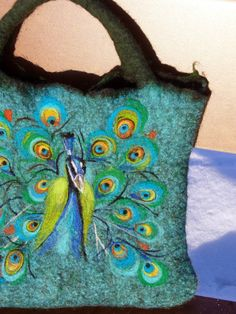 Felt Wool Tote Peacock,One of kind Felted handbag,  handmade, OOAK Ready to Ship