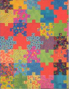 Just grab some of your favorite fat quarters & you're ready to begin this stunning quilt that measures x when finished. Bright colors work well in this quilt project & you should be able to get two puzzle pieces from each fat quarter. Quilting Projects, Quilting Designs, Sewing Projects, Quilting Ideas, Quilting Classes, Art Quilting, Quilting Tutorials, Sewing Ideas, Sewing Crafts