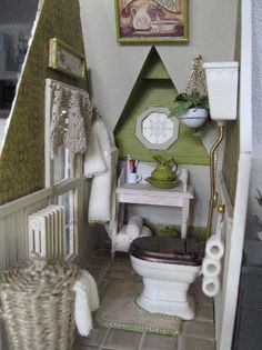 Cute dollhouse bathroom green  Interesting idea for a bathroom in a small space
