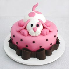 What a cute puppy cake! Puppy Birthday Cakes, Birthday Cake Girls, Dog Birthday, Dog Cakes, Girl Cakes, Fondant Cakes, Cupcake Cakes, Fondant Bow, Fondant Tutorial