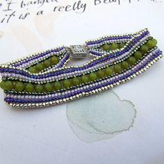 Seed Bead Friendship Bracelet Green & Purple  by MRSBAUBLES, $45.00