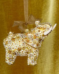 H8LHH Jay Strongwater Mille Fiori Elephant Christmas Ornament