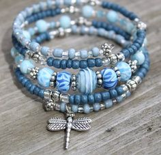 "Blue ""Denim"" Memory Wire Bracelet with Dragonfly Charm, Dragonfly Bracelet, Charm Bracelet by CathyCJewelryDesign on Etsy"