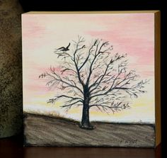 """Crow Sunrise,Original Canvas,Tree Landscape,Frame 5X5,Impressionism  Acrylic original painting on artist cradle frame 5"""" X 5"""" X 1 1/2"""".  Ready for display on shelf, desk or may be hung on wall.  Wonde"""