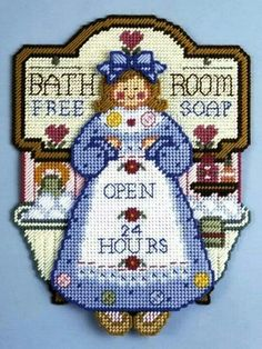 Bathroom sign Plastic Canvas Christmas, Plastic Canvas Crafts, Plastic Canvas Patterns, Canvas 5, Canvas Signs, Canvas Frame, Cross Stitch Embroidery, Cross Stitch Patterns, Cross Stitch Books