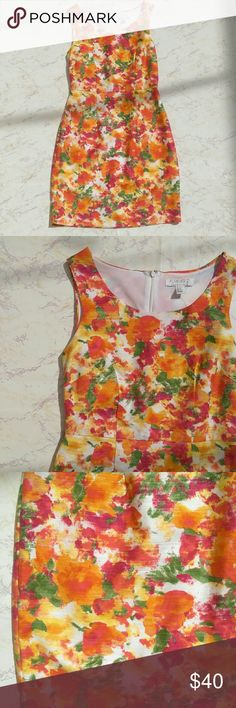 HP Spring Watercolor Colorful Sheath Dress Beautiful watercolor dress in perfect condition, barely worn! Perfect for a spring event like Easter and Mothers Day, or just to wear out on a sunny day.   Size: Small Shell: 98% cotton, 2% spandex Lining: 100% polyester  Was a host pick 5/27/17. Forever 21 Dresses