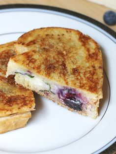 Blueberry Brie Grilled Cheese with Cinnamon & Basil