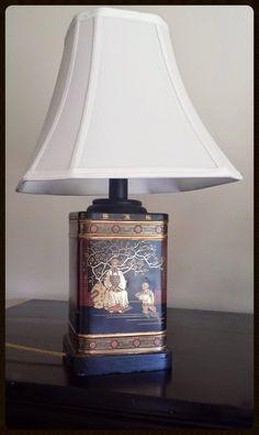 Vintage Oriental Asian Tea Caddy Tin Table Lamp by LEMmONyADEstAND, $75.00
