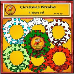 Free Christmas Wreath Puzzle Frames from Charlotte's Clips