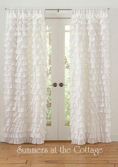 White Ruffle Curtain from summersatthecottage.com - would be pretty in another pastel & tied back