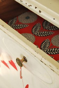 DIY – fabric drawer liners.