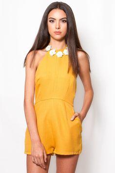 Prima Diva Romper in Citron Yellow