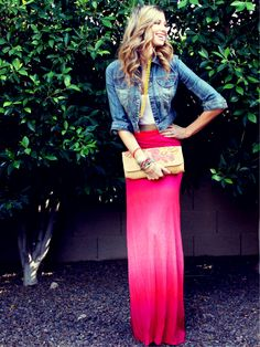 love the colorful maxi w/ denim topper!