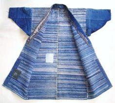 Japanese Vintage Textile Sakiori Hanten Faded Blue