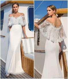 Buy Ladies Dress Sexy Lace Dress Long Skirt Wedding Dress at Wish - Shopping Made Fun Making A Wedding Dress, Wedding Dress Chiffon, Wedding Dresses Plus Size, Dream Wedding Dresses, Bridal Dresses, Wedding Gowns, Lace Chiffon, Wedding Dress With Shawl, Bridesmaid Gowns