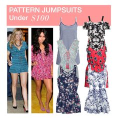 """Under $100: Pattern Jumpsuits"" by polyvore-editorial ❤ liked on Polyvore featuring H&M, Topshop, Miss Selfridge, MANGO, under100 and patternjumpsuits"