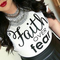 SALE•Faith over fear CLASSIC tee, Faith tee, trendy christian fashion, no fear, faith works, bible tee, black and white tee, classic tee