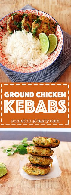 - Quick, easy and healthy Ground Chicken Kebabs! Tastes delicious as an appetiser or as part of a main meal. From Something Tasty Ground Chicken Kebab Recipe, Ground Chicken Recipes, Kebab Recipes, Indian Food Recipes, Middle Eastern Dishes, Grilled Lamb, Kebabs, Recipes From Heaven, Main Meals