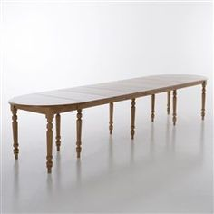 Table ronde 6 allonges, pin massif, 4 à 16 couverts, col. miel, Authentic Style