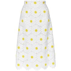 Dolce & Gabbana Cotton Blend Macramé Daisy Skirt (108,340 DOP) ❤ liked on Polyvore featuring skirts, white skirt, daisy skirt, dolce gabbana skirts, daisy print skirt and dolce&gabbana