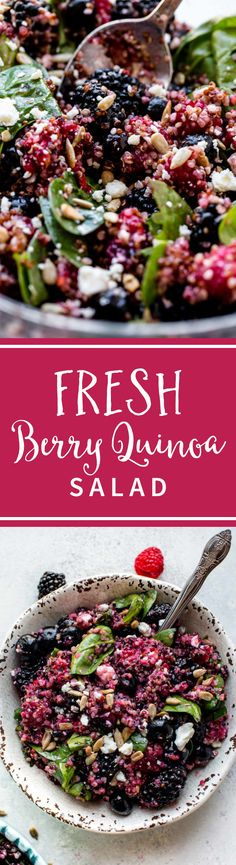 Fresh berries, gorgonzola cheese, spinach, basil, and a simple honey lemon dressing makes this healthy quinoa salad hit the spot! Recipe on sallysbakingaddiction.com