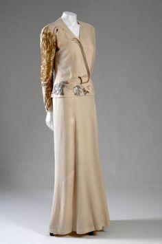 Evening ensemble, 1937. Silk crepe, metallic and silk thread, glass beads. Elsa Schiaparelli and Jean Cocteau