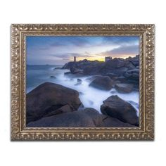Trademark Fine Art Ploumanac'h Between Night and Day Canvas Art by Mathieu Rivrin, Gold Ornate Frame, Size: 11 x 14, Yellow