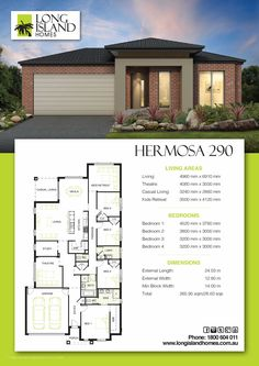 Hermosa 290 Town House Plans, House Layout Plans, House Plans One Story, Dream House Plans, House Layouts, Small House Plans, House Floor Plans, Hip Roof Design, 5 Bedroom House Plans