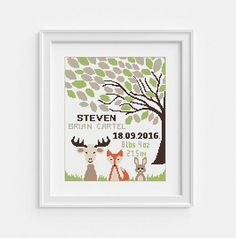 Personalized birth announcement. Baby cross stitch pattern. Tree with Animals. PDF instant download.