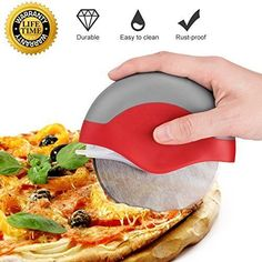 Pizza Cutter Wheel Slicer Pizza Knife Stainless Steel Easy Clean Dishwasher Safe Large Professional for Non Stick Heavy Duty with Protective Cover How To Clean Rust, Commercial Kitchen Equipment, Clean Dishwasher, Kitchen Supplies, Kitchen Essentials, Kitchen Gadgets, Industrial Restaurant, Catering, Pizza