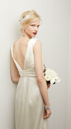 Silk V-neck, V-back gown by Caroline DeVillo