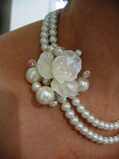 Fleur    Ivory Swarovski Pearls Necklace Weddings  by IreneJewelry, $44.00