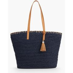 Talbots Women's Crocheted Paper Straw Tote : Fashion Colors (385 MYR) ❤ liked on Polyvore featuring bags, handbags, tote bags, oversized beach tote bags, beach tote, blue purse, zip tote bag and crochet tote bag