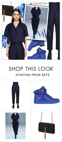 """""""In the Navy"""" by luisaviaroma ❤ liked on Polyvore featuring Salvatore Ferragamo, Moschino, Yves Saint Laurent, COVERGIRL, women, luisaviaroma, womensFashion and lvr"""