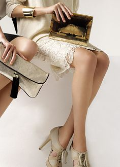 laced pencil skirt, metallic bracelet and clutch, open-toe lace-ups (mango)