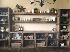 Crates for great rustic storage! Interior, Rustic Farmhouse Kitchen, Kitchen Plans, Barn Kitchen, House Interior, Repurposed Furniture, Home Kitchens, Transitional Living Room Furniture, Rustic House
