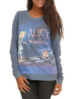 Pullover top from Disney's Alice in Wonderland with title design on front.