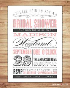 Old Fashioned Bridal Shower invitation