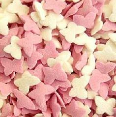 Pink & white Sugar Butterfly Sprinkles for cake or cupcake decorations Sprinkle Cupcakes, Cupcake Decorations, White Butterfly, Pink White, Sprinkles, Sugar, Rose, Flowers, Plants