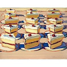 Wayne Thiebaud - saw a similar painting at the Cantor.  Pictures do no justice to his work, it absolutely glows with color.