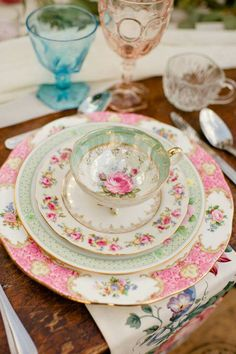 Pretty florals plates - My Royal Albert Lady Carlisle plate on bottom!