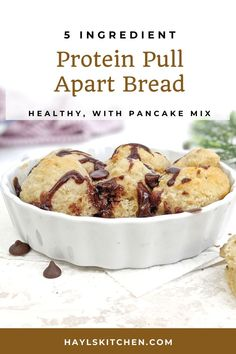 A quick, hacky Protein Pull Apart Bread made with pancake mix! This protein powder pull apart pancake bread is healthy, sugar free, low fat and has a keto option too. Perfect for a post workout or breakfast. Unflavored Protein Powder, Vanilla Protein Powder, Protein Desserts, Protein Pancakes, Greek Yogurt Protein, Look And Cook, Protein Powder Recipes, Pull Apart Bread, How To Make Bread