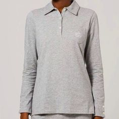 Lauren Ralph Lauren Monogram Pajama Top Cute heather gray pajama top. Super soft cotton with buttons on the cuffs. Ralph Lauren Intimates & Sleepwear Pajamas
