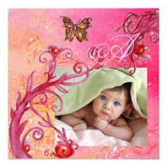 BUTTERFLY IN PINK, BABY GIRL SHOWER Photo Template Personalized Invitations