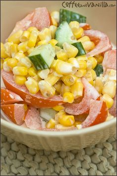 INGREDIENTS 4 medium tomatoes (cut into wedges) ½ large cucumber (cubed) 400g tin sweet corn (drained) 2 tbs of mayonnaise or 1 tbs of mayonnaise and 1 tbs