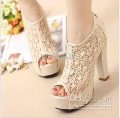 Wholesale 2013 sexy lace fish mouth shoes summer sandals with thick shoes high-heeled shoes hot Nude shoes, Free shipping, $21.02/Piece | DHgate